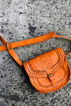 Load image into Gallery viewer, Orange cross body bag with cutouts