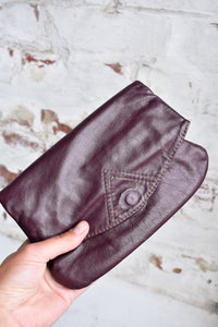 Vintage purple leather clutch