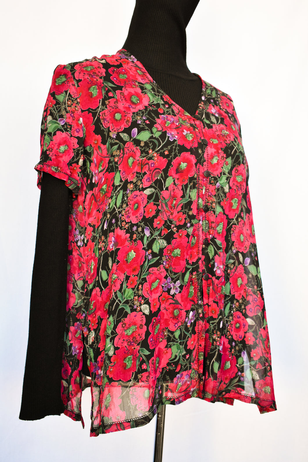 Monsoon floral sheer top, size S