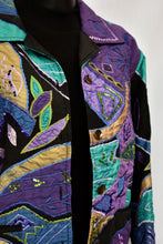 Load image into Gallery viewer, Draper's & Damon's purple and green jacket, size M