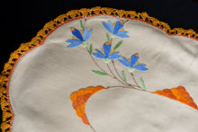 Load image into Gallery viewer, Orange embroidered oval tray cloth
