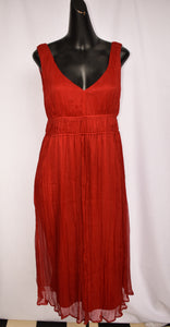 Red silk dress, size 10
