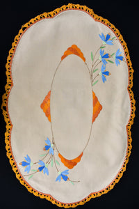 Orange embroidered oval tray cloth