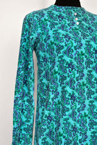 Blue and green paisley dress, size S