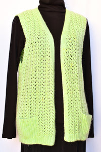 Pastel green retro wool vest, size M