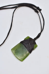 Bob Wyber bound wide Pounamu/greenstone necklace