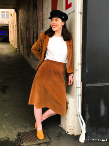 Brown vintage two piece jacket and skirt, size 14 (vintage)