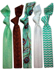 Peacock Hair Tie  5 Pack
