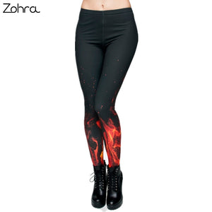 Zohra Brand Russian style Fire flame Printing Leggings Punk Women Legging Stretchy Trousers Casual Pants Womens Leggings