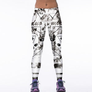 Creative Funny! 3D Tiger Print White Leggings Women Fitness Legging Sexy New12 Styles Stretch Breathable Wicking Leggign Leggins