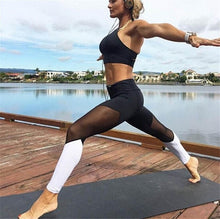 Load image into Gallery viewer, Casual Leggings Women Fitness Leggings Color Block Spring Summer Workout Pants New Arrival Mesh Insert Leggings