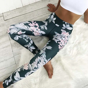 No Transparent ! Blue Slim Leggings Women Flower Print Sporting Legging Fitness Pants Sexy Push Up Elastic Leggins