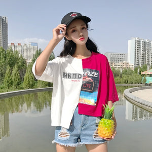 2017 Summer New Fashion Patchwork Halajuku Loose Casual Irregular Short Sleeve Fesmale T-shirts