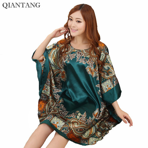 Hot Sale Fashion Lady Summer Robe Chinese Women's Faux Silk Bath Gown Yukata Nightgown Nuisette Pijama Mujer One Size Xsz622J
