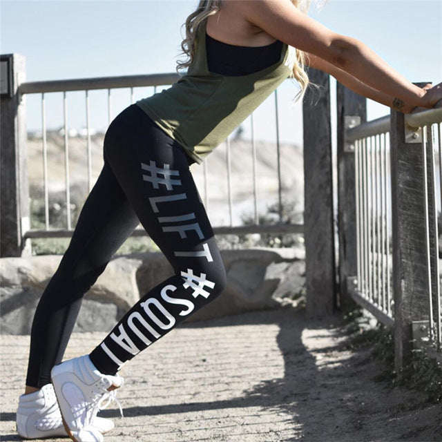 New Arrival Lift Squat Letter Print High Waist Women Leggings Pants Breathable Female Fitness Leggins Casual Trousers For Women