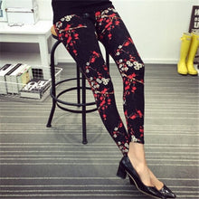 Load image into Gallery viewer, Hot Print Flower Leggings Leggins Plus Size Legins Guitar Plaid Thin Pant Fashion Women aptitud Trousers K092