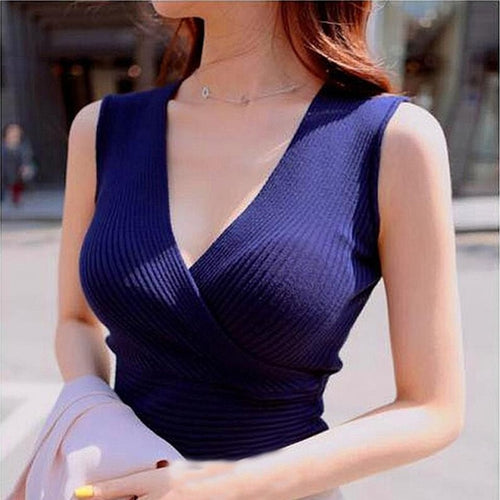 2017 spring new korean women sleeveless Sexy cross v neck shirt pullover woman top sweater womens pullovers sweaters femme pull
