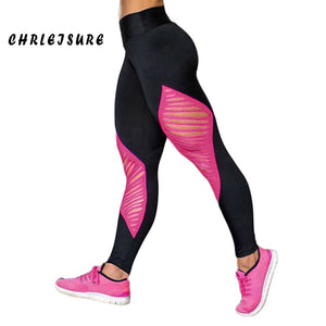 CHRLEISURE Workout Leggings Black Female polyester Patchwork Long Legins Quick dry Hollow Sexy Push Up Women Leggings