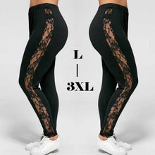 Load image into Gallery viewer, Plus Size Sexy Women Holllow Out Lace Leggings Sexy High Waist Bandage Pants Insert Sheer Leggings Viscose Elastane