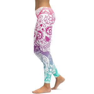 New Hot Elastic Workout Leggings Women Floral Skull Print Plus Size Fitness S Outfit Leggings Red Purple Yellow Green Blue