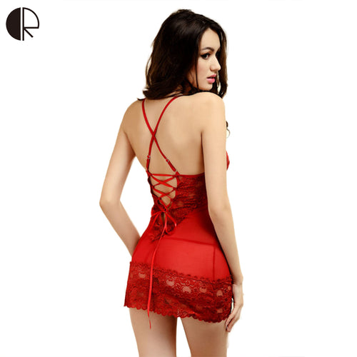 CR M~XXXL Core Sexy Sleepwear Female Temptation  Dress Women's Summer Lace Nightgown Spaghetti Strap Belt Underwear
