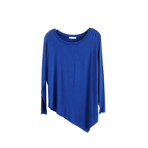 100% Cotton Long Sleeve Dance Women T Shirts Casual Y oga Ladies Tops Asymmetric Womens Tees S ports tshirt Camisetas Mujer D5