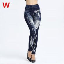 Load image into Gallery viewer, Weljuber Women Leggings Autumn Jeans Leggings Slim Mock Pocket Woman Print Jeggings Ladies Denim Skinny Trousers