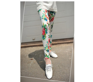 YRRETY Graffiti Leggings Floral Patterned Print Leggins For Women Leggings Houndstooth Sale Elastic Design Vintage Leggins 2019
