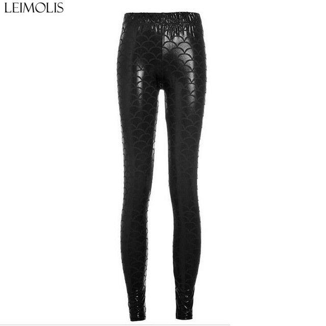 LEIMOLIS High Waist punk rock Harajuku workout push up fitness sexy 3d print mermaid Fish Scale women leggings plus size pants