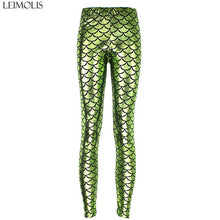Load image into Gallery viewer, LEIMOLIS High Waist punk rock Harajuku workout push up fitness sexy 3d print mermaid Fish Scale women leggings plus size pants