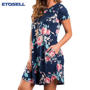 Summer women dresses Fashion O Neck Women Floral Print Mini Dress Summer Short Sleeve Dresses Party Wedding Vestido