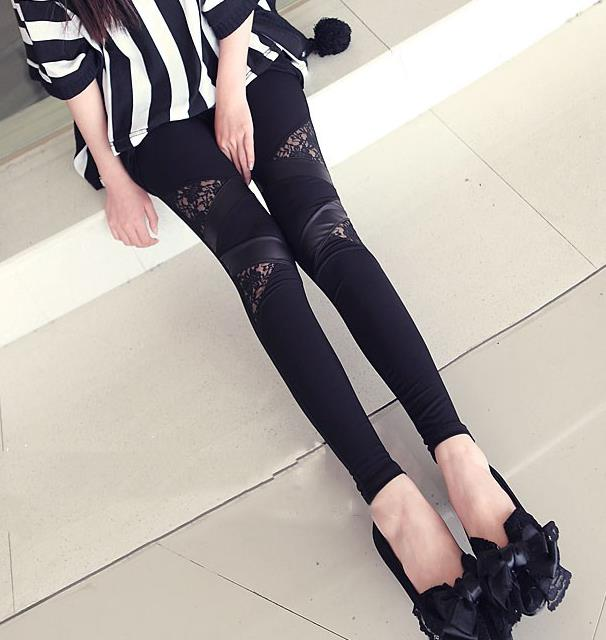 Spring Autumn Leather workout Leggings Hot Charming Warm Cheap Lace Sexy PU Skinny Stretch Splicing Pants