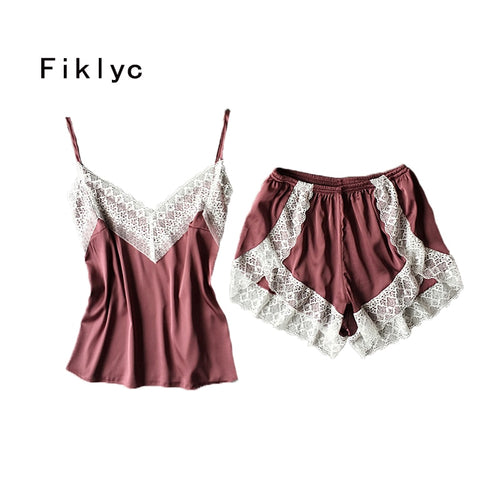 Fiklyc brand sexy women's lace & satin patchwork pajamas sets summer sleeveless pijamas sets homewear beauty nightwear gift item