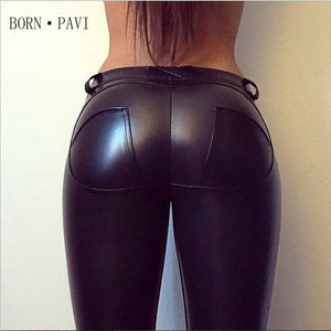 Leggings For Women Sexy Hip Push Up Pants Low Waist Leggings PU Leather Jegging Gothic Leggins Jeggings Legins 4 Colors