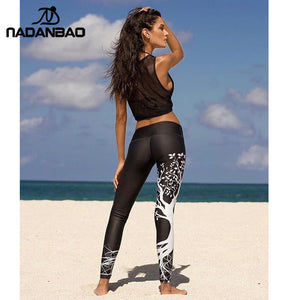 NADANBAO New Arrival Tree Digital Printed Leggings Women Hight Waist Plus Size Leggins Bodycon Block Color Fitness Pants