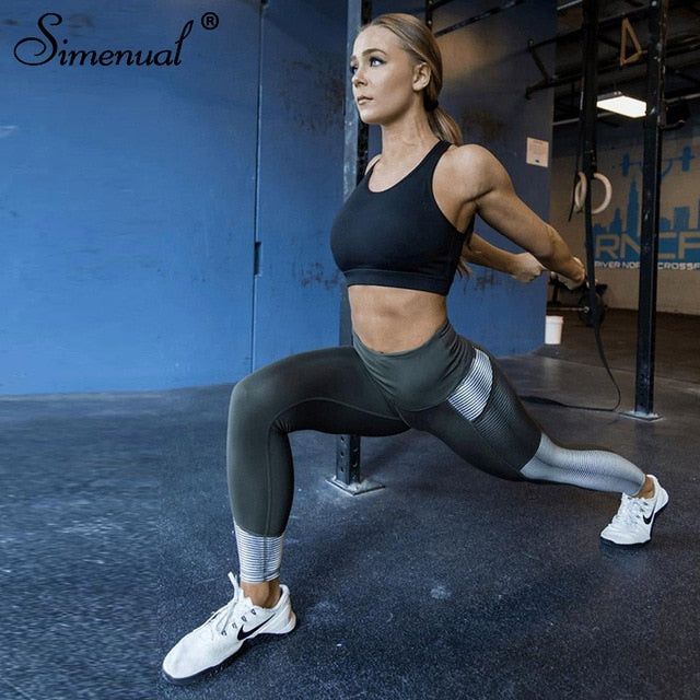 Simenual Harajuku striped leggings for fitness women 2018 mesh pocket athleisure legging sportswear fashion bodybuilding jegging