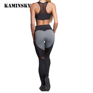 Kaminsky Women Fashion Gothic Push Up Ladies Mesh Pants Love Heart Black Leggings Casual Pants High Waist Sexy Leggings