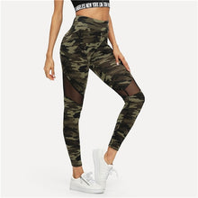 Load image into Gallery viewer, SHEIN Multicolor Mesh Insert Camo Print Leggings Sporting Patchwork Sheer Crop Pants Women Autumn Athleisure Leggings