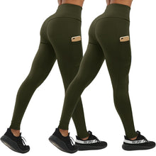 Load image into Gallery viewer, CHRLEISURE 2pcs Fashion Push Up Fitness Leggings Women with Pockets High Waist Workout Women Legging Patchwork Leggings Women