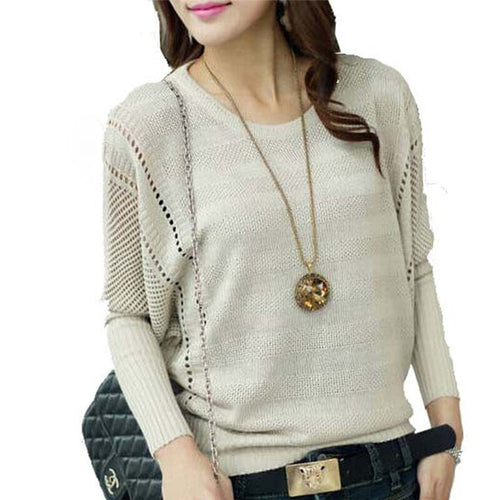 1Pc Fashion Women Solid Hollow Out Batwing Sleeve Sweater Knitted Loose Pullover Female Autumn Jumper Casual Sweater
