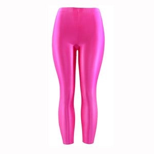 Plus Size Fluorescent Color Women Leggings Elastic Leggings  Spandex Multicolor Shiny Glossy Leggins Trousers For Girl