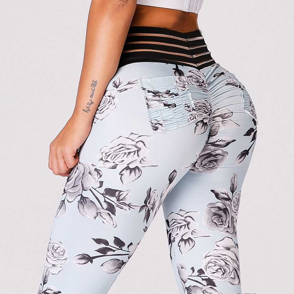 Women Fitness Leggings High Waist Flower Print Push Up Activewear Slim Legging No Transparent Women Fitness Workout Leggings