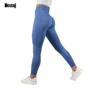 Nessaj Fashion Fitness Leggings Women High Waist Workout Leggins Casual Women Pants Mujer Solid Patchwork Leggings