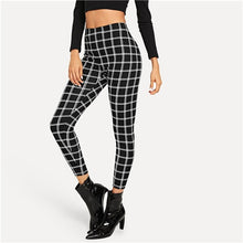 Load image into Gallery viewer, SHEIN Black Wide Waist Plaid Leggings Elegant Office Lady Skinny Women Autumn Workwear Highstreet Minimalist Leggings