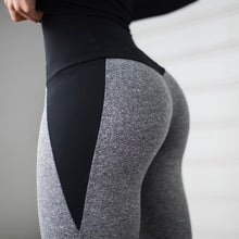 Load image into Gallery viewer, Black Gray Patchwork Fitness Leggings Women's High Waist Push Up Skinny Pants Elasticity Workout Thick Leggings For Women