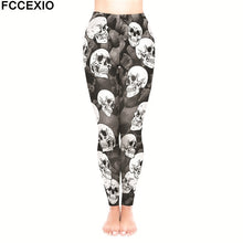 Load image into Gallery viewer, FCCEXIO Female Workout Pants High Waist Fitness Legging New 5 Style Skulls Skeleton Print Leggins Women Leggings Slim Trousers