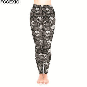 FCCEXIO Female Workout Pants High Waist Fitness Legging New 5 Style Skulls Skeleton Print Leggins Women Leggings Slim Trousers