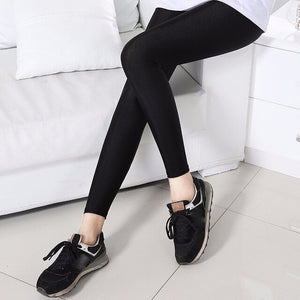S-3XL Size Women Shiny Black Legging Autumn Ladies Push Up Slim Leggings High Waist Stretchy Soft  Large Size Women Legging Y077