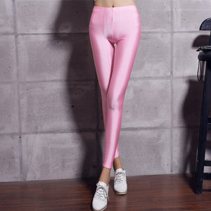 Female Pant Multiple Color Neon Leggings  Fluorescent Shiny Pant Leggings Large Size Spandex Shinny Elasticity Casual Trousers