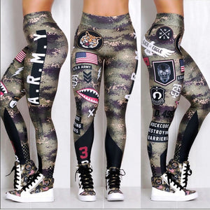Women Army Green Print Leggings Push Up Fitness Legging Elastic Workout Pants Fashion Female Printed Leggings